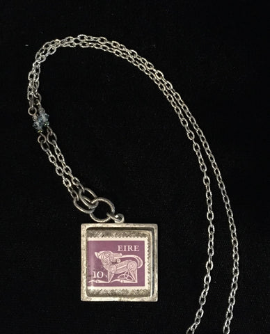 Necklace Eire Stamp Purple Beast w/ beaded chain