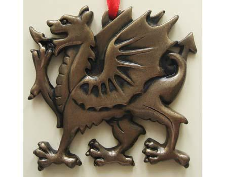 Christmas Ornament - Bronzed Welsh Dragon