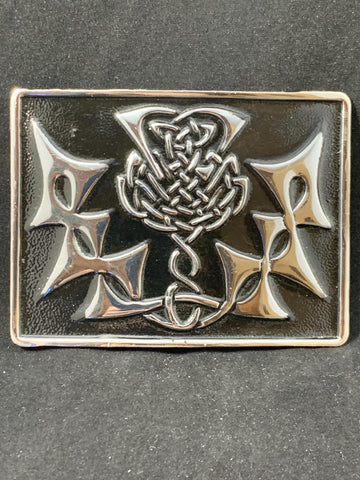 Buckle - Black Enamel and Chrome Thistle