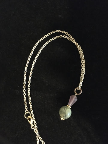 Necklace Thistle Green Stone w/ chain