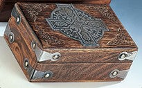 Box Wood with Carved Celtic Cross Design Top