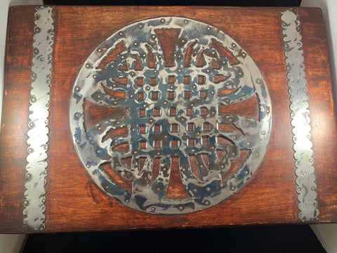 X-Large Wood Box with Metal Celtic Design
