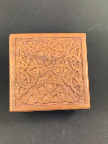 Box Wood with Carved Celtic Design Top