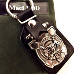 Key Ring with Clan Crest, Pewter on Leather Tab