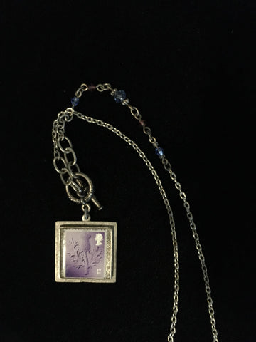 Necklace Thistle Stamp Square Setting w/ Crystals in Chain