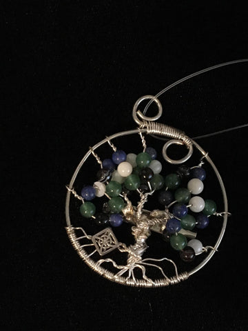 Pendant Tree of Life Silver w/Lapis, Aventurine, Shell & Banded Agate