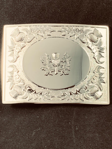 Buckle - Chrome Thistle Oval