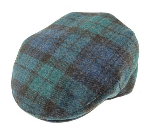 Cap Flatcap Shetland Wool Black Watch or Royal Stewart