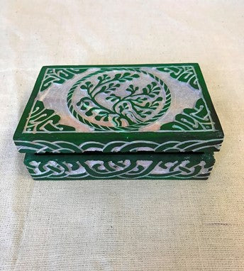 Box Stone Carved Celtic Tree of Life Design
