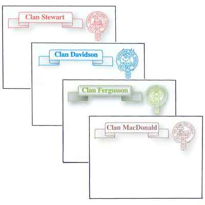 Clan Crest Post It Notes - CLOSE OUT, LIMITED TO STOCK ON HAND