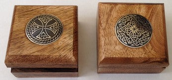 Box Wood with Metal Celtic Design Disk Top