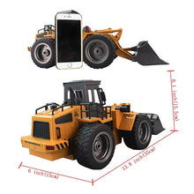 RC Truck Alloy Shovel Loader 6CH 4WD Wheel Loader Metal Remote Control Bulldozer Construction Vehicles For Kids Hobby Toys Gifts