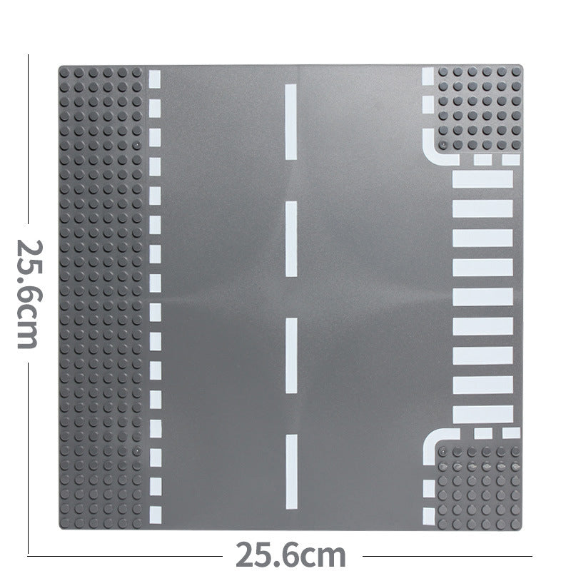 Road Plate Straight Crossroad Curve T-Junction Building Blocks Parts Bricks Base Compatible Legoe City Blocks Baseplate Toys