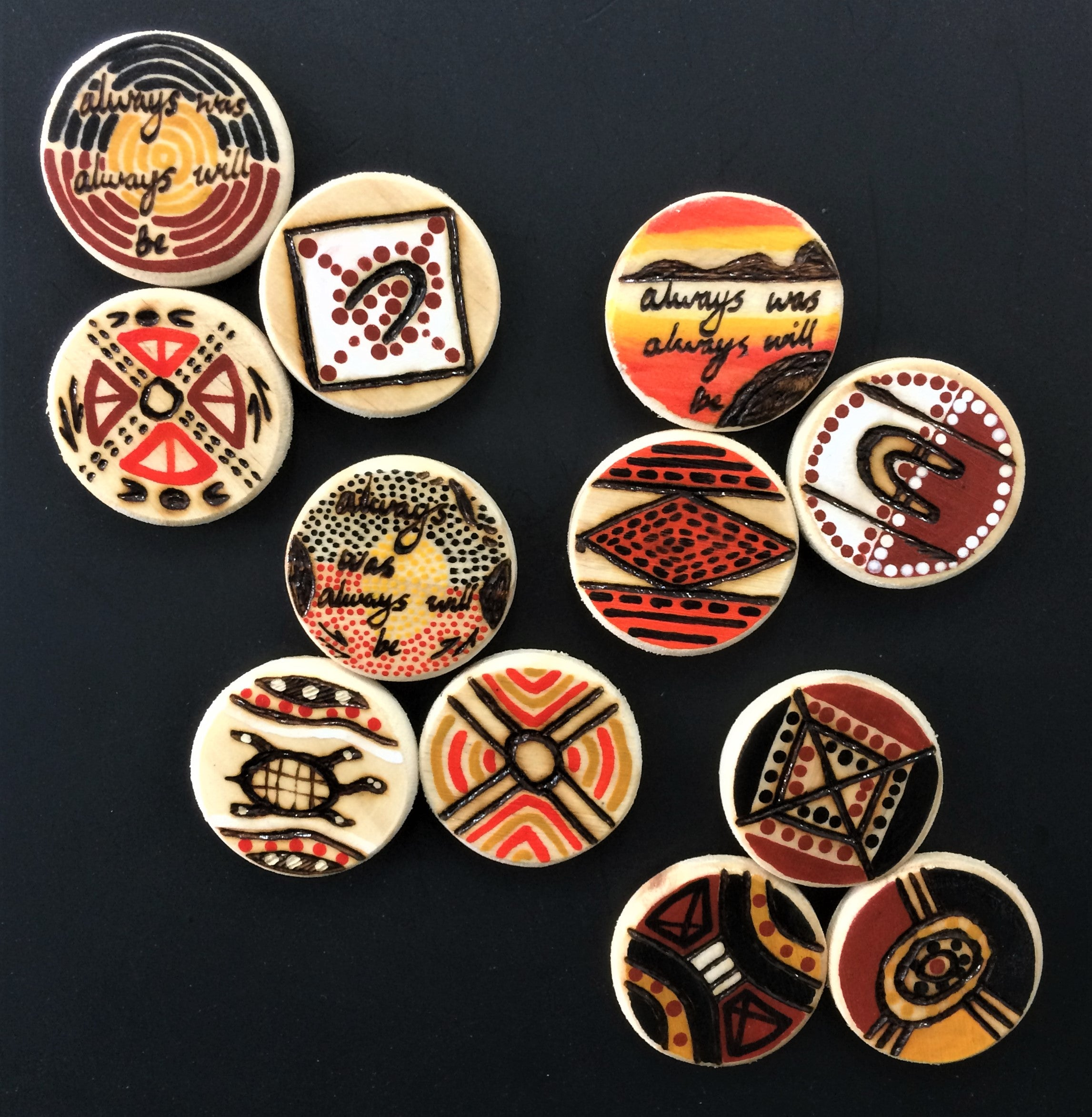 Indigenous Wooden Magnet (small 4.5 cm Diameter) Various designs