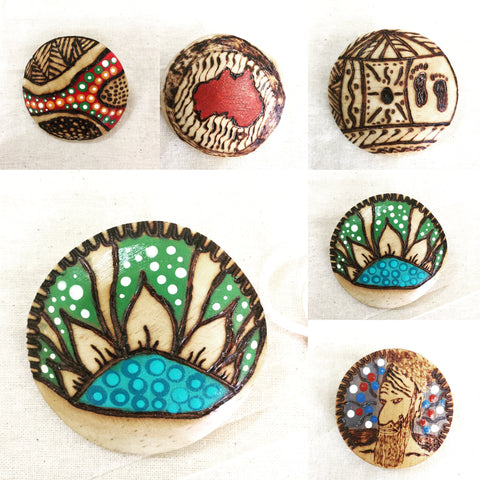 Wooden Brooch & Scarf Pin