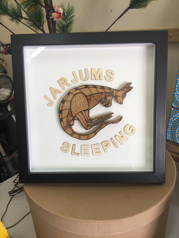 Framed 'Jarjums Sleeping' Wooden Collage