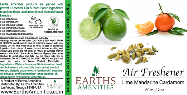 Lime Mandarine Cardamom Essential Oil Air Freshener 60ml (Case of 12)