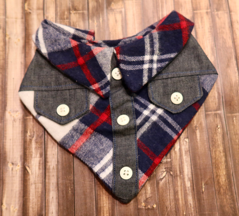 Dark Denim Flannel Bandana