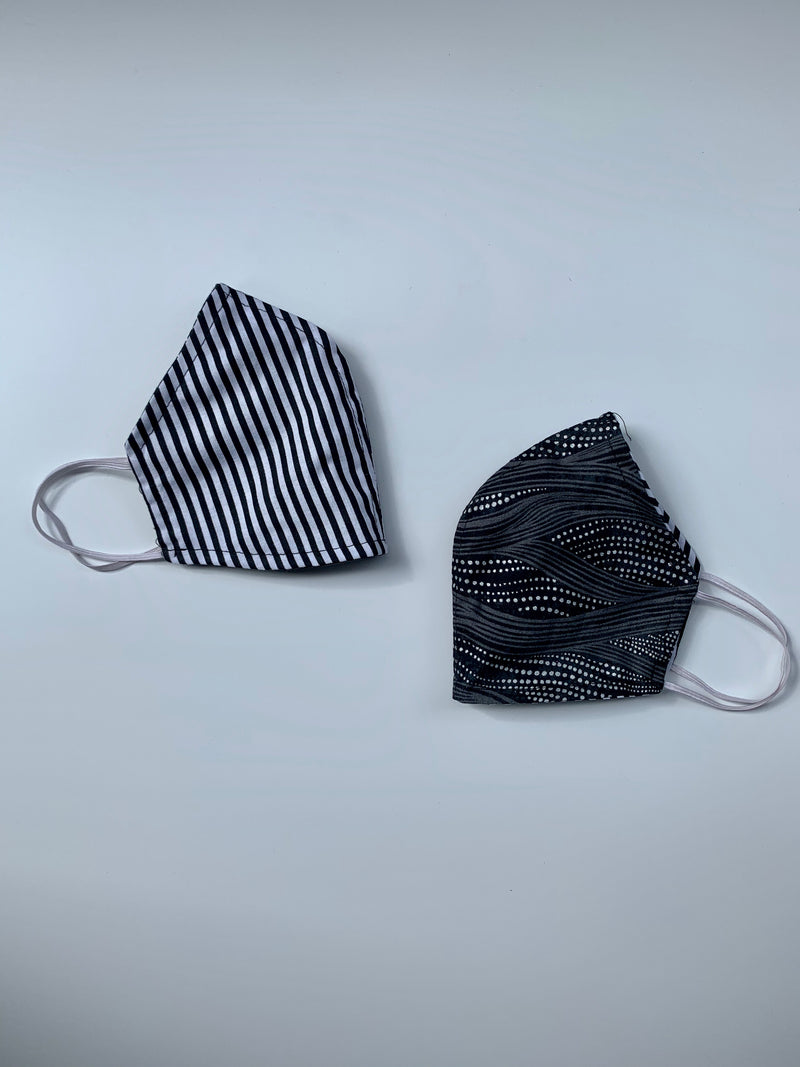 Black & White Waves Fabric Face Mask