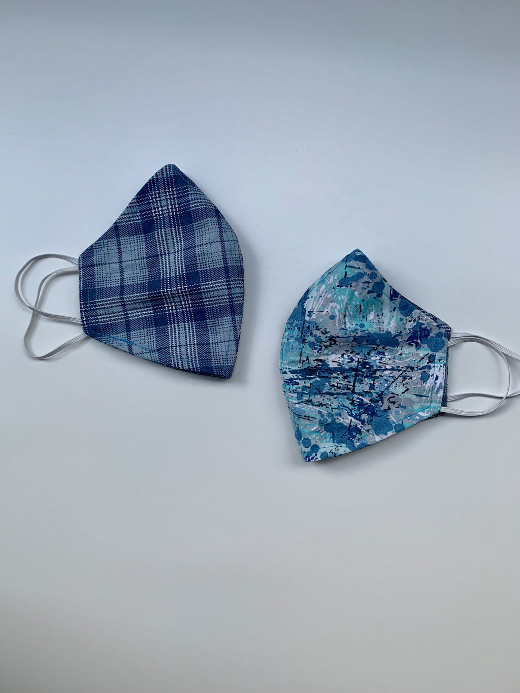 Blue Plaid Fabric Face Mask