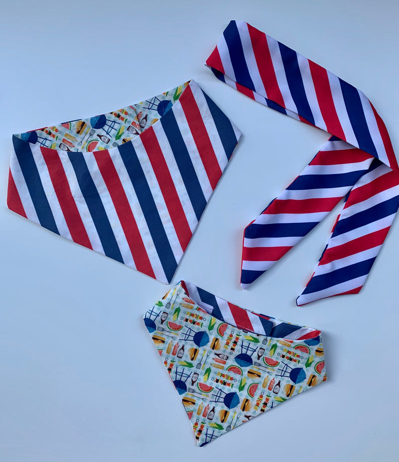 Red & White Stripes Matching Set Bandana