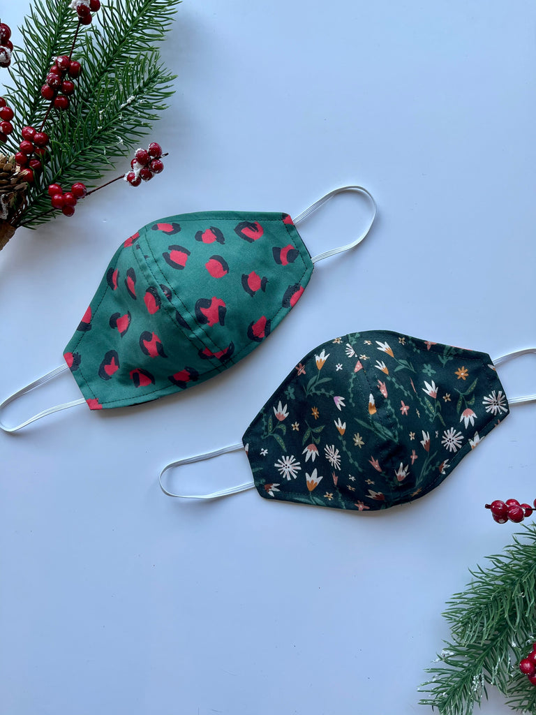 Christmas Leopard Fabric Face Mask