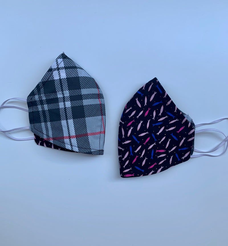 Gray Plaid Fabric Face Mask