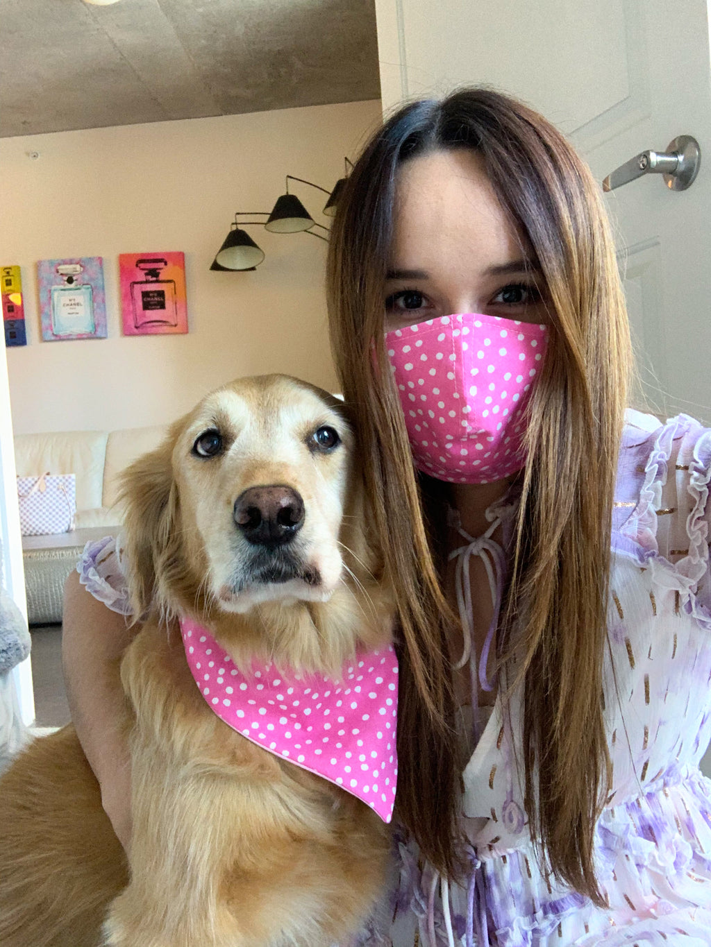 Pink Polka Dots Face Mask Matching Set
