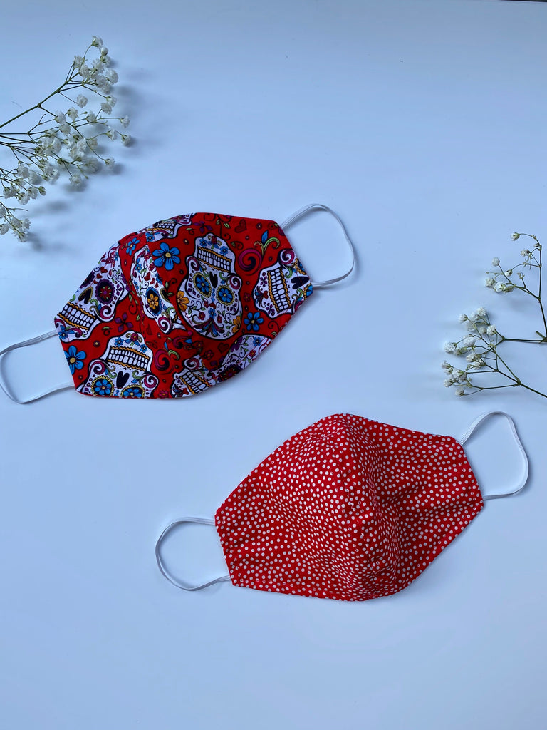 Red Catrina Fabric Face Mask