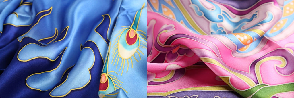 Vshine Silk and Shine Hand Painted Silk Scarf