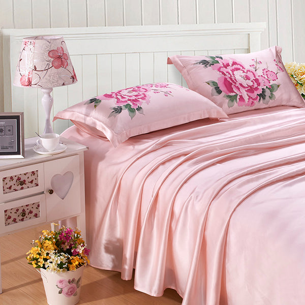 Luxury Silk and Shine Bedding Hand-painted Rose Pink