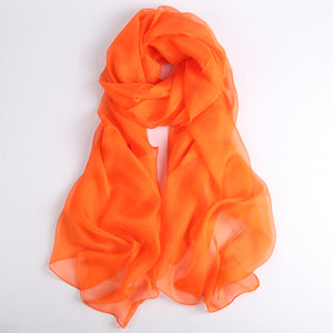 Large Silk Scarf Orange - Vshine Silk and Shine Fashion Accessories