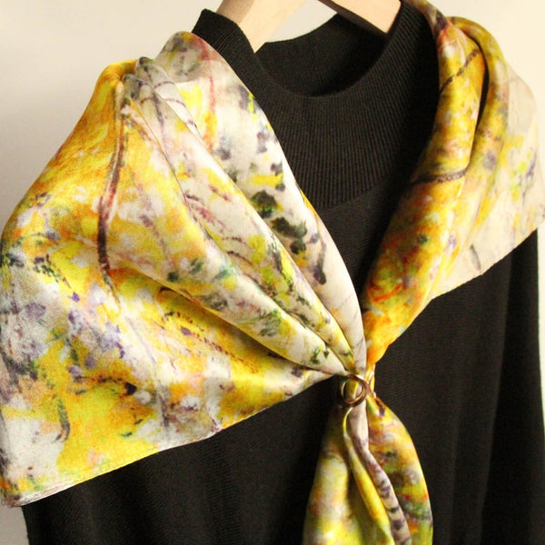 Oil Paint Silk Scarf| Willows of Vetheuil