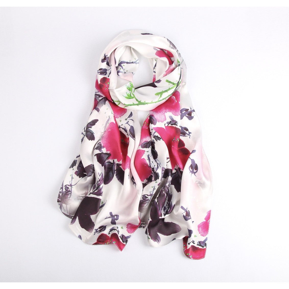 Vshine Silk and Shine Fashion Accessories|Silk Scarf Collecitons|Blossom Range|Water Paint|Red|Long Silk Scarf