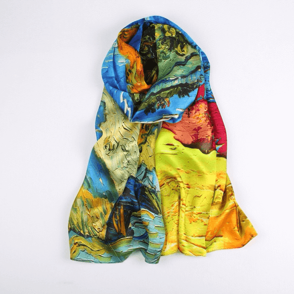 Vshine Silk and Shine Fashion Accessories|Silk Scarf Collections|Blossom Range|Autumn Design|Golden|Long Silk Scarf