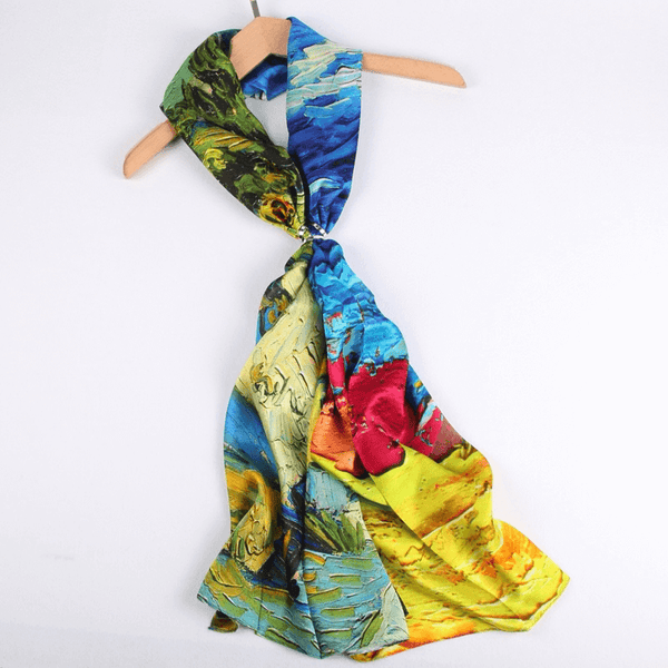 Silk Scarf Collections|Blossom Range|Autumn Design|Golden|Long Silk Scarf