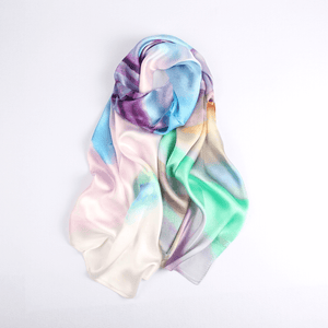Vshine Silk and Shine Fashion Accessories|Silk Scarf Collecitons|Blossom Range|Rainbow Pastel Design|Long Silk Scarf