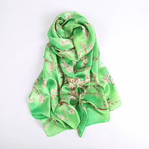 Silk Scarf Collections|Blossom Range|Cherry Blossom Design|Green|Long Silk Scarf