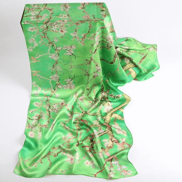 Vshine Silk and Shine Fashion Accessories|Silk Scarf Collections|Blossom Range|Cherry Blossom Design|Green|Long Silk Scarf