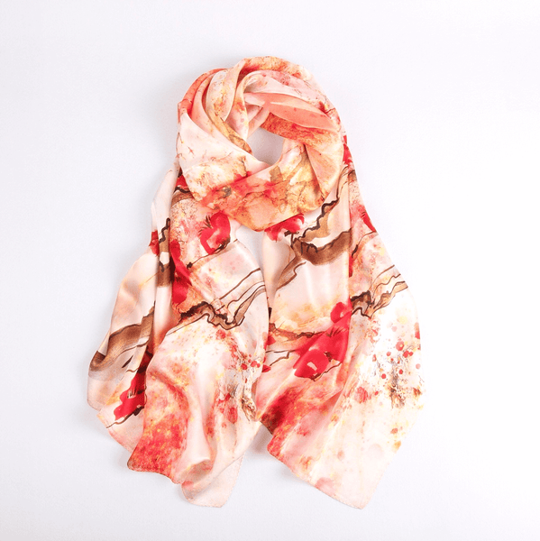 Vshine Silk and Shine Fashion Accessories|Silk Scarf Collections|Blossom Range|Cherry Blossom Design|Red|Long Silk Scarf