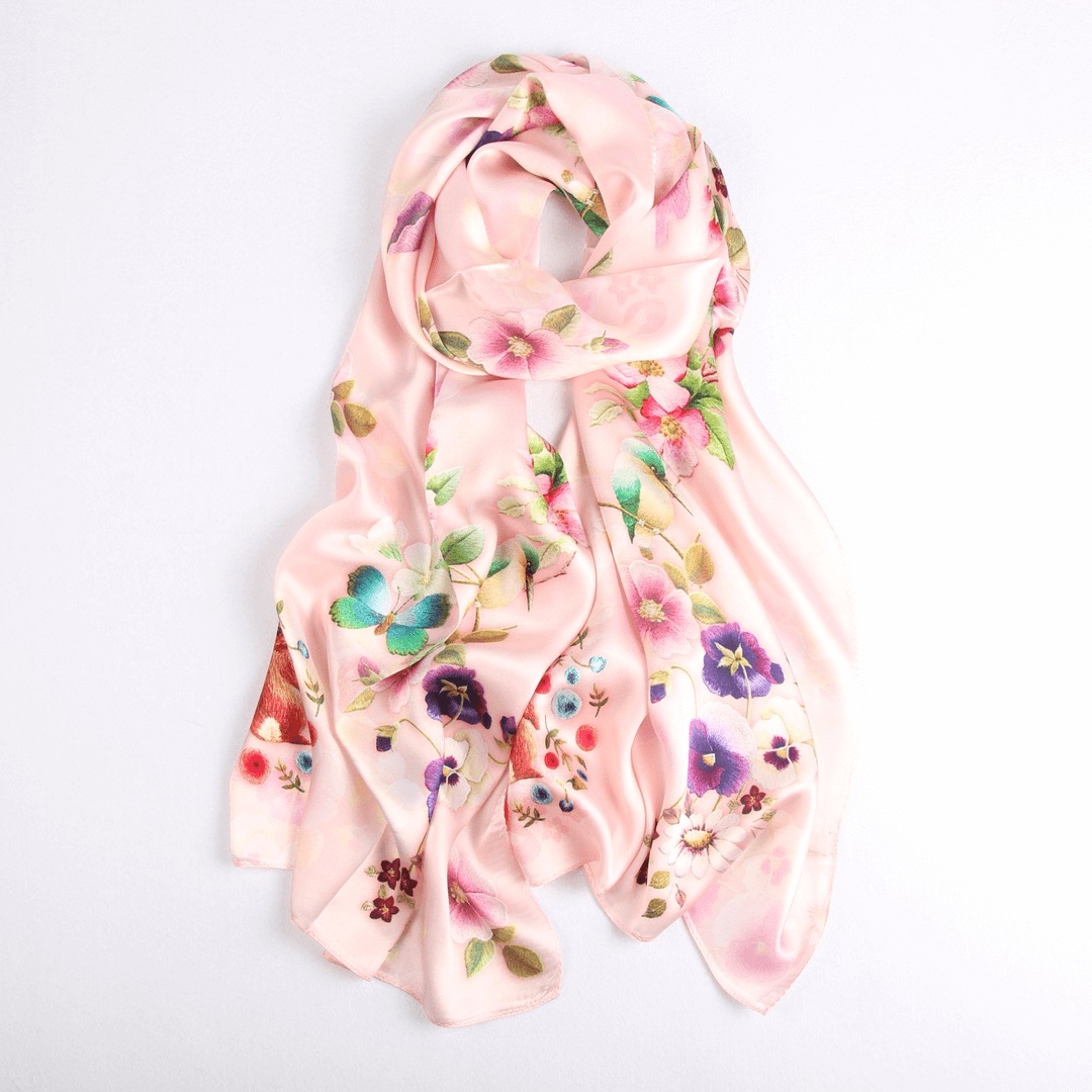 Vshine Silk and Shine Fashion Accessories|Silk Scarf Collections|Blossom Range|Garden Bliss|Cream|Long Silk Scarf