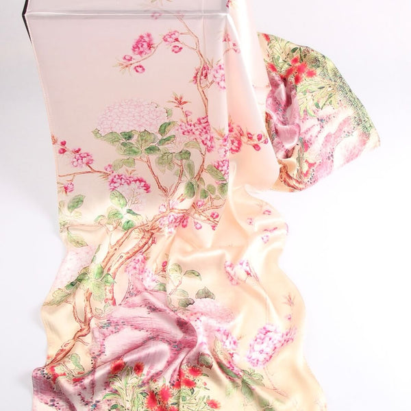 Vshine Silk and Shine Fashion Accessories|Silk Scarf Collections|Blossom Range|Geranium Design|Pink|Long Silk Scarf
