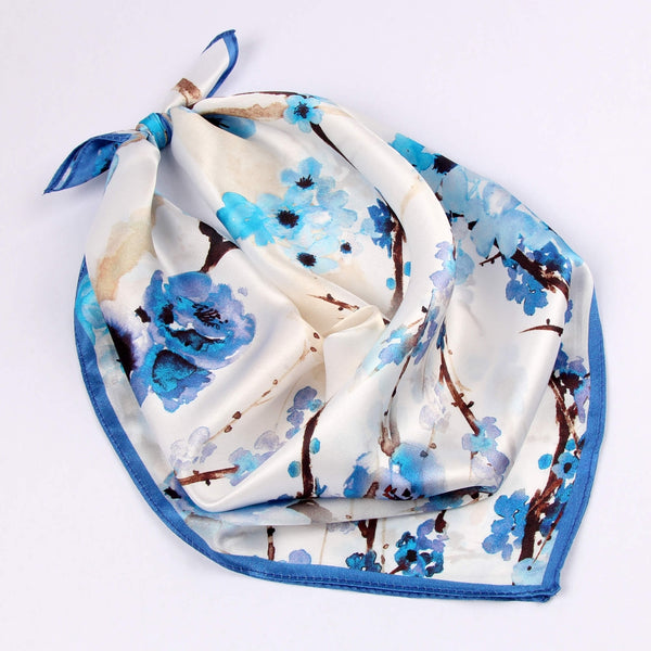 Small Square Silk Scarf|Versatile|Plum Blossom Blue