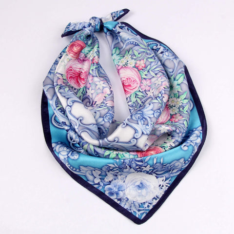 Small Square Silk Scarf|Versatile|Rose Blue Pink