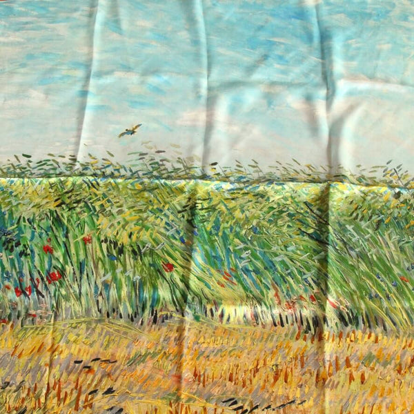 Oil Paint Silk Scarf| Oil Paint Wheat field with a lark