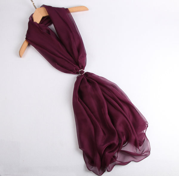 Large Silk Scarf maroon - Vshine Silk and Shine Fashion Accessories