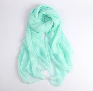 Large Silk Scarf Green - Vshine Silk and Shine Fashion Accessories