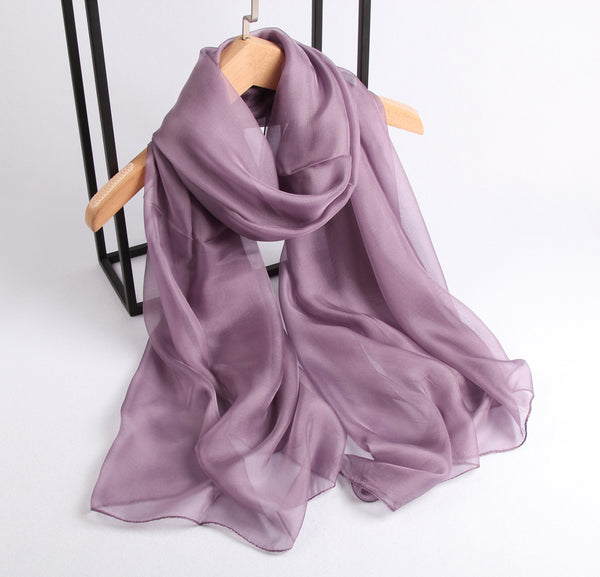 Large Silk Scarf Dark Lilac - Vshine Silk and Shine Fashion Accessories