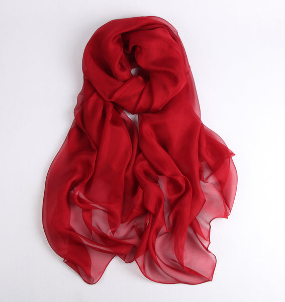 Large Silk Scarf Dark Red - Vshine Silk and Shine Fashion Accessories