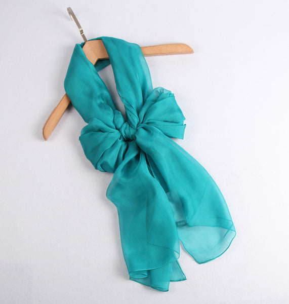 Large Silk Scarf Turquoise - Vshine Silk and Shine Fashion Accessories